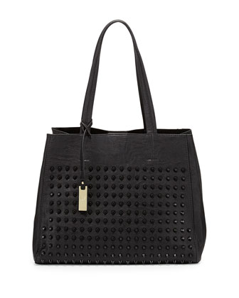 Olivia Tonal Studded Tote Bag, Black
