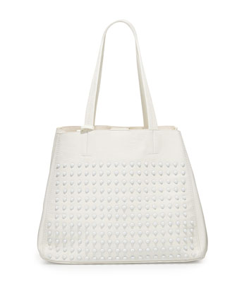 Olivia Tonal Studded Tote Bag, White