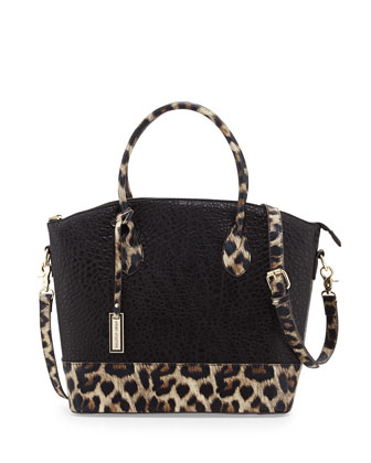 Avalon Structured Colorblock Tote, Black/Leopard