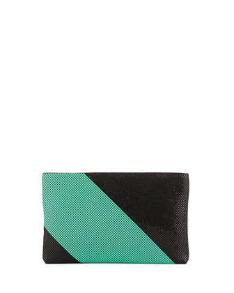 Claire Two-Tone Metal Mesh Clutch, Black/Green