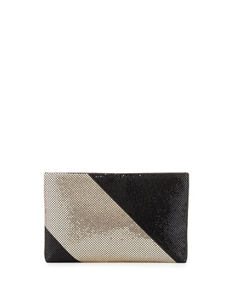 Claire Two-Tone Metal Mesh Clutch, Black/Gold