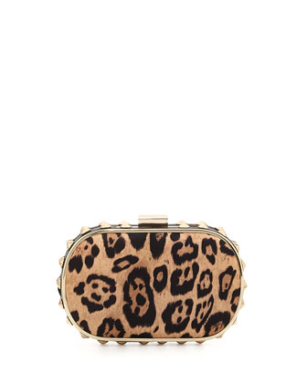 Samantha Leopard-Print Clutch Bag