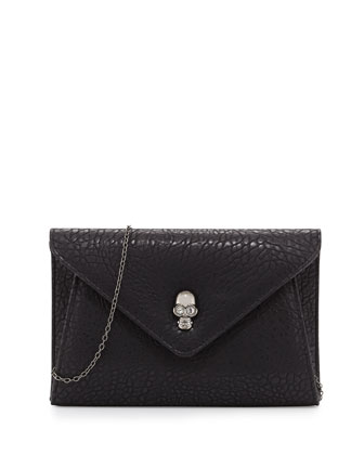 Vixon Crystal Skull Envelope Clutch, Black