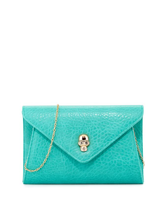 Vixon Crystal Skull Envelope Clutch, Green