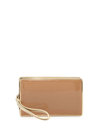 Dandy Mixed-Media Clutch Bag, Gold/Beige