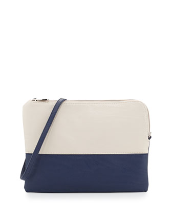 Manly Colorblock Pouch Bag, Navy/Beige