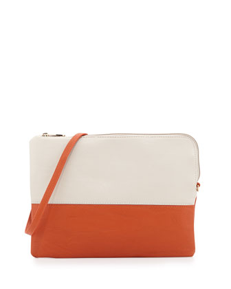 Manly Colorblock Pouch Bag, Orange/Beige