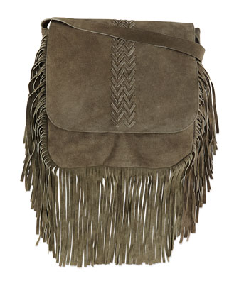 Jessica Suede Fringe Crossbody Bag, Olive
