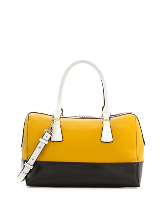 Dara Colorblocked Leather Satchel Bag, Yellow/Black/White