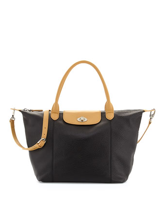 Dee Pebbled Leather East-West Tote Bag, Black