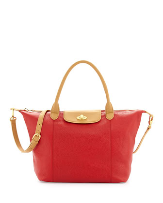 Dee Pebbled Leather East-West Tote Bag, Red