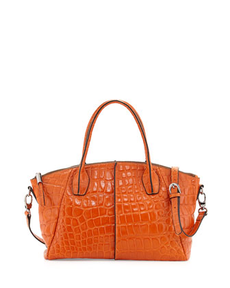 Della Croc-Embossed Leather Tote, Orange