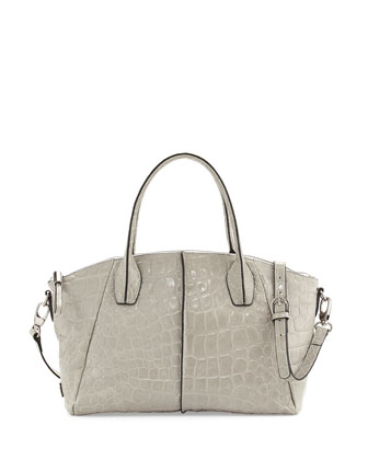 Della Croc-Embossed Leather Tote, Gray