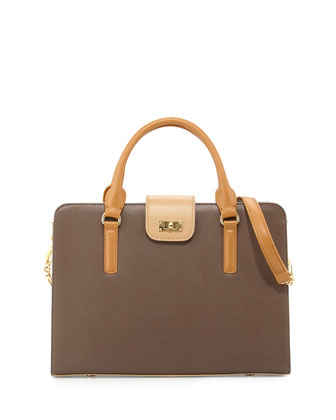 June Colorblock Leather Tote Bag, Taupe Combo