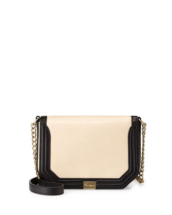 Pleated Mini Crossbody Bag, Ecru/Black