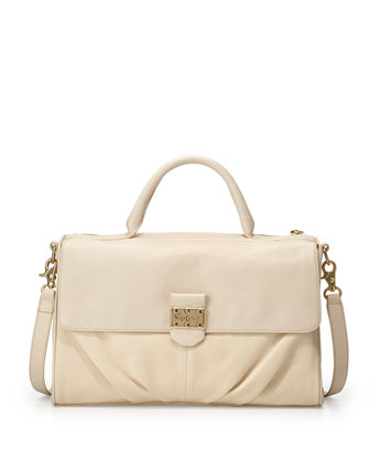 Casablanca Leather Satchel Bag, Ecru