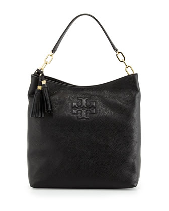 Thea Leather Tassel Hobo Bag, Black