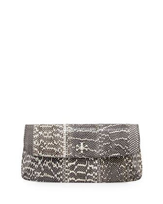 Diana Snakeskin Flap Clutch Bag, Black