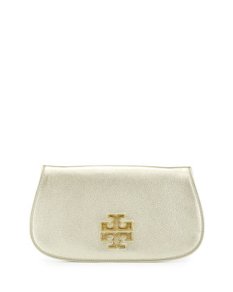 Britten Metallic Saffiano Leather Clutch Bag, Gold