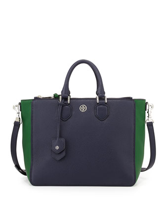 Robinson Double-Zip Square Tote Bag, Tory Navy/Emerald