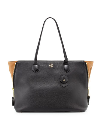 Robinson Leather Side-Zip Tote Bag, Black/Tigers Eye
