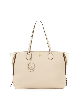 Robinson Side-Zip Tote Bag, Beige/Champagne Gold