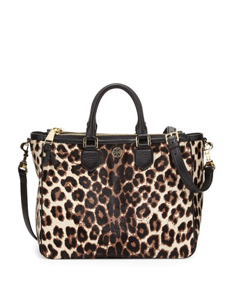 Robinson Calf Hair Square Tote Bag, Snow Leopard
