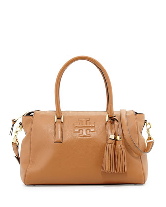 Thea Leather Zip Satchel Bag, Bark