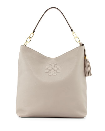Thea Leather Tassel Hobo Bag, Dust Storm