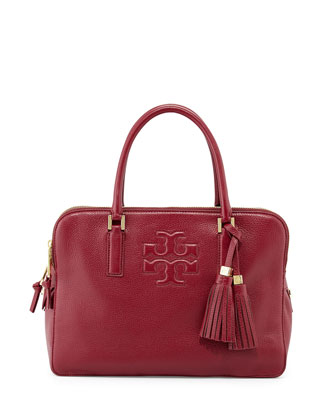 Thea Triple-Zip Leather Tote Bag, Cabernet