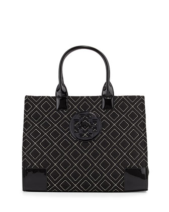 Ella Quilted Nylon Tote Bag, Black/Gold