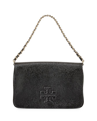 Thea Patent Flap Crossbody Bag, Black