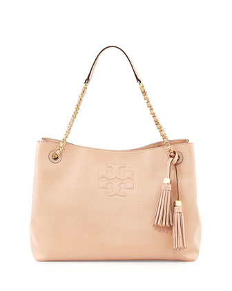 Thea Patent Chain-Strap Shoulder Bag, Light Oak