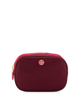 Travel Nylon Double Cosmetic Case, Cabernet