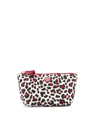 Printed Nylon Trapeze Cosmetic Bag, Snow Leopard/Carnation Red