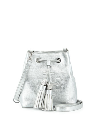 Thea Mini Crossbody Bucket Bag, Silver