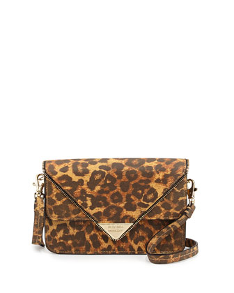 Sammy Cheetah-Print Zip-Trim Envelope Crossbody Bag, Tan