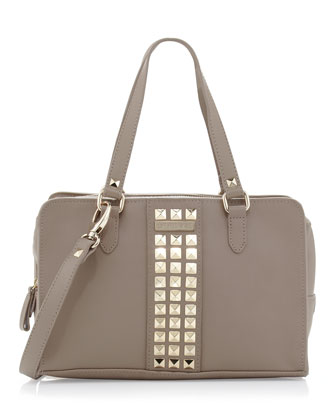 Studded Zip-Around Satchel Bag, Brown