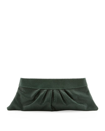 Louise Snake-Print Clutch Bag, Emerald