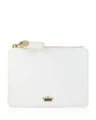 Leather Coin Purse with Key Chain, White