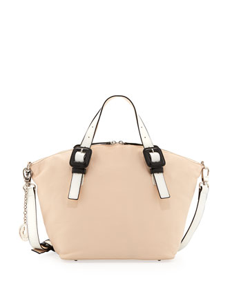 Jinx Leather Domed-Top Convertible Satchel/Shoulder Bag, Blush