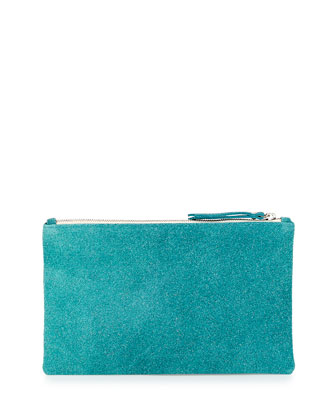 Medium Zip-Top Bead-Encrusted Clutch, Turquoise