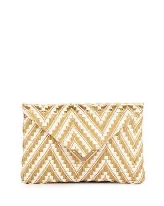 Bella Zigzag Raffia Clutch Bag, Gold/White