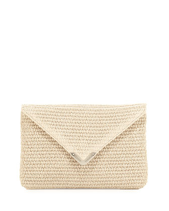 Bella Raffia Clutch Bag, Silver