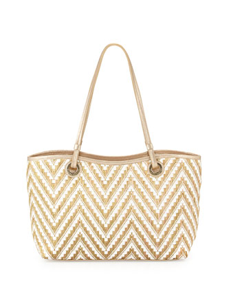 Candice Zigzag Raffia Tote Bag, Gold/White