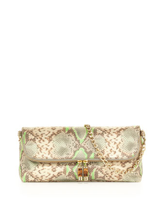 Makenzie Python-Embossed Convertible Bag, Mint