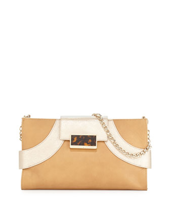 Nima Mixed-Leather Clutch Bag, Butter/Champagne