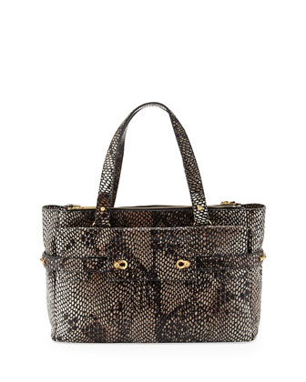 Strappy Python-Embossed Golden Latch Tote, Bark Python