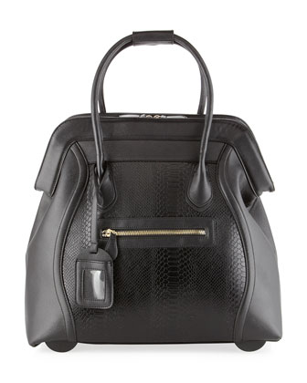 Boston Saffiano Faux-Leather Rolling Bag, Black