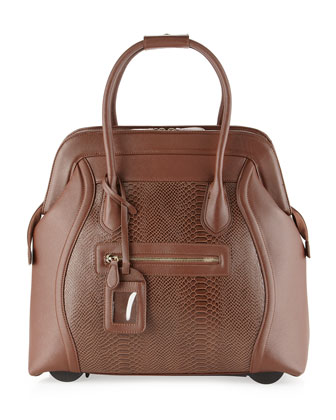Boston Faux Leather Snake-Embossed Rolling Bag, Brown